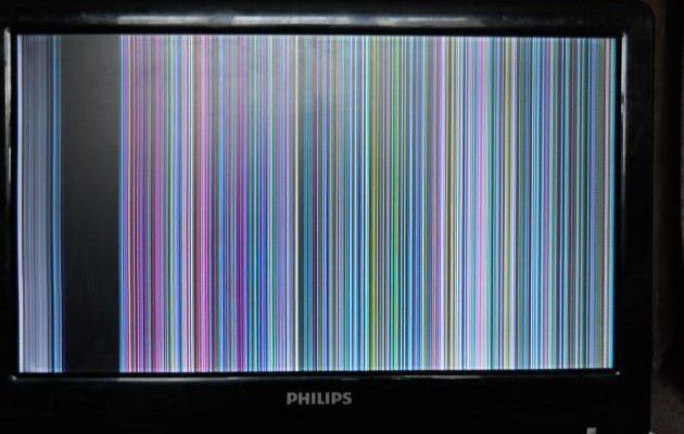 Черный экран и полосы на телевизоре филипс