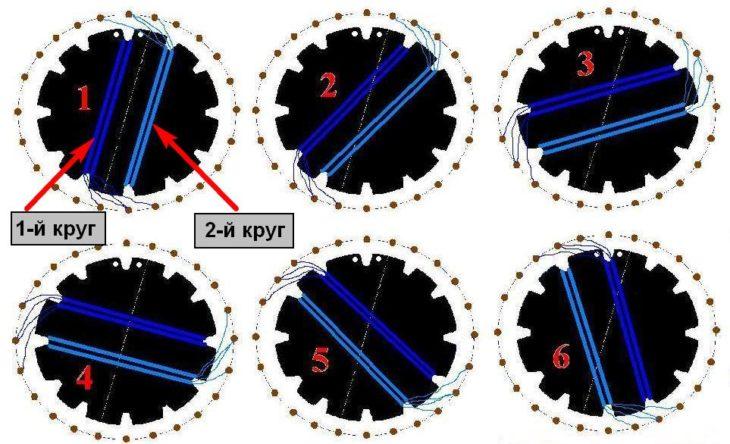 Схема намотки витков в два круга