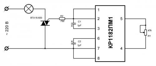 Схема с силовым симистром