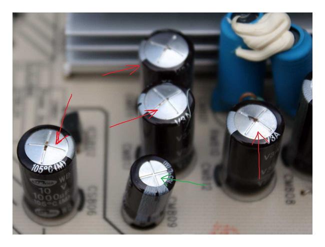 Вздувшиеся конденсаторы телевизора