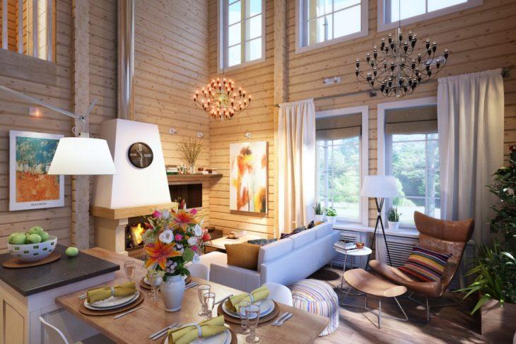 Комната в доме из клееного бруса со вторым светом