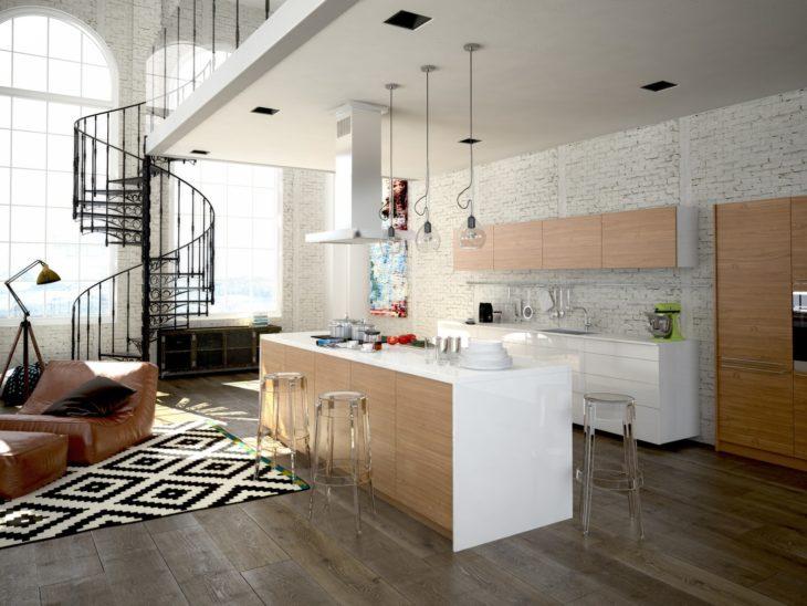 Кухня в интерьере дома со вторым светом