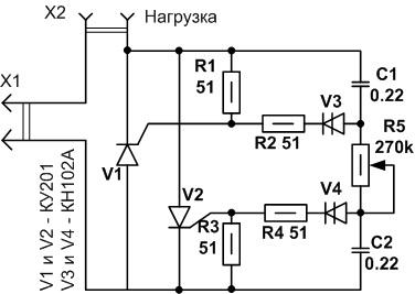 Схема диммера на тиристорах