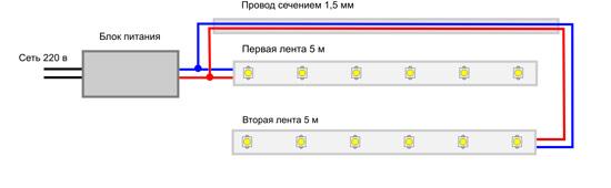 Схема подключения светодиодных лент к одному трансформатору