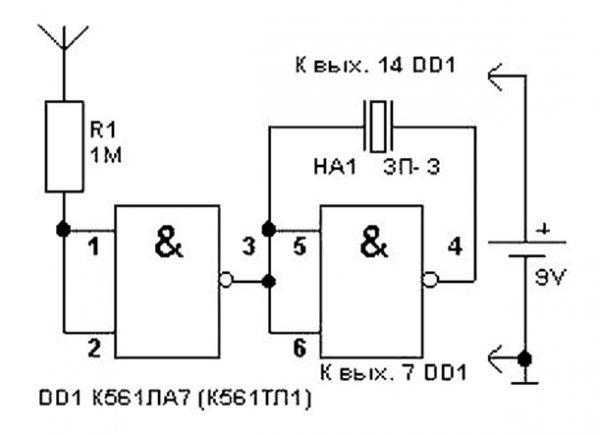 Схема со световой индикацией