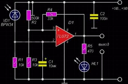 Схема световой сигнализации на таймере NE555, фототранзисторе и лазерной указке