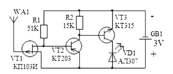 Схема устройства нахождения обрыва проводки