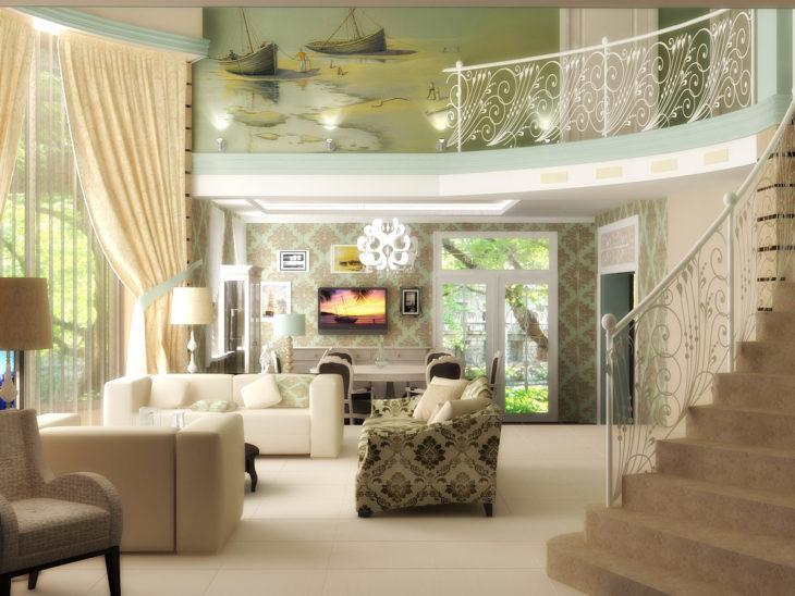 Кремовые плотные шторы интерьере зала