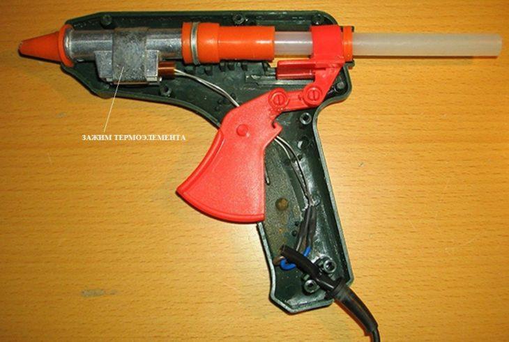 Клеевой пистолет в разобранном виде