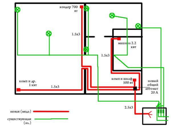 Пример схемы прокладки электросети