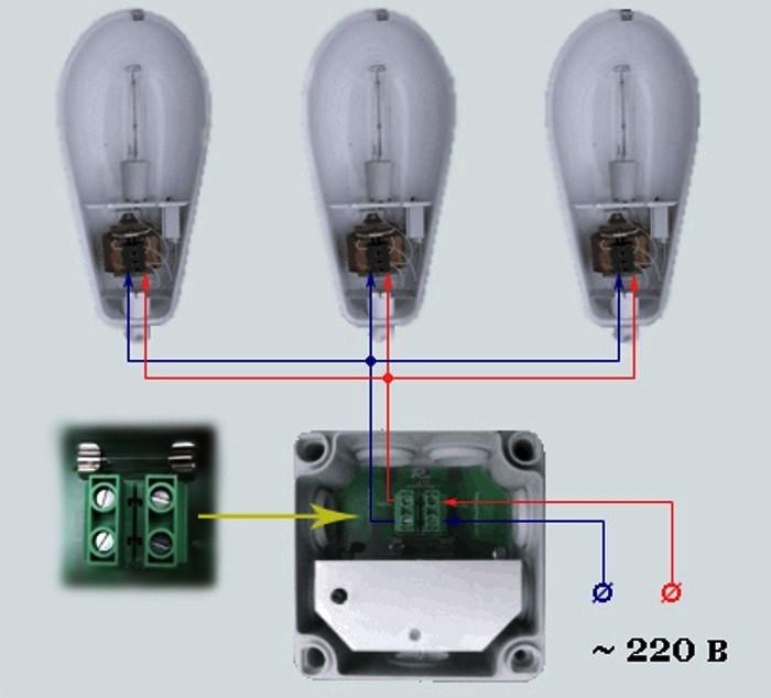 Схема подключения фотореле на три лампочки