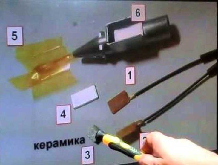 Термоэлемент клеевого пистолета в разобранном виде