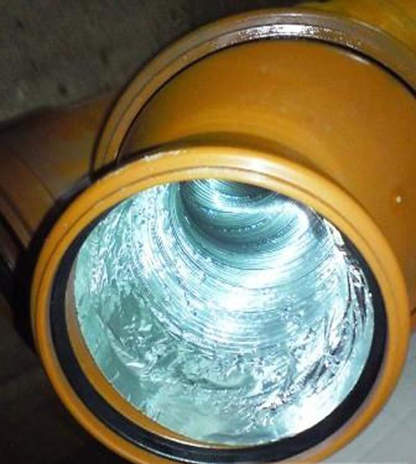 Алюминиевая гофра внутри трубы