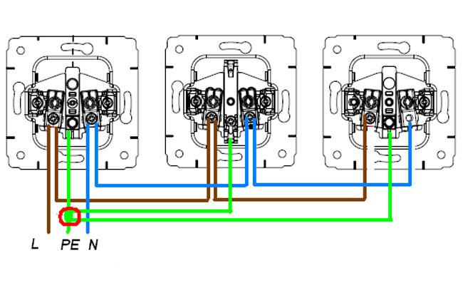 Подключение трёх розеток от одного кабеля