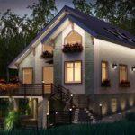 Загородный дом с подсветкой