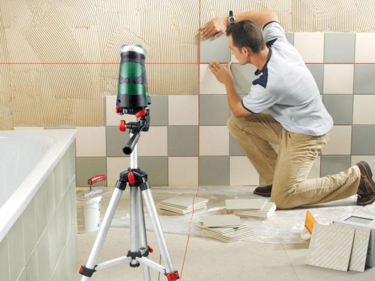 Применение лазерного нивелира при монтаже плитки