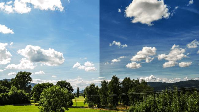 Сравнение картинки с эффектом HDR и без него