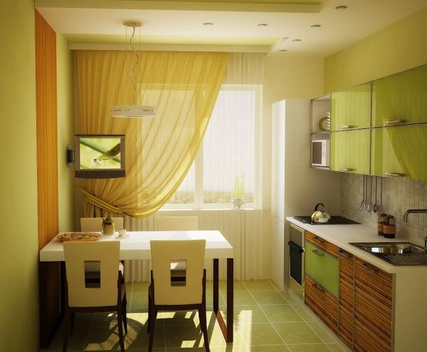 телевизор возле окна на кухне