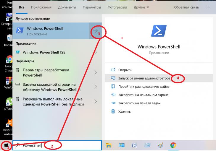 Запуск Windows 10 PowerShell с правами администратора