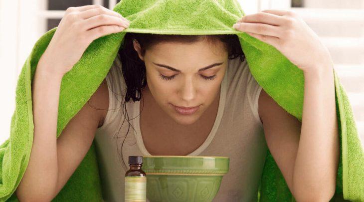 Паровая ингаляция с применением полотенца