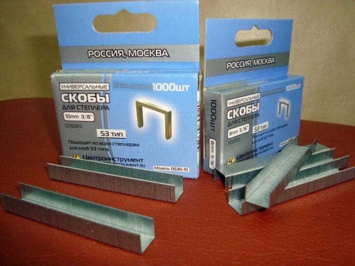 Прямоугольные скобы для мебельного степлера