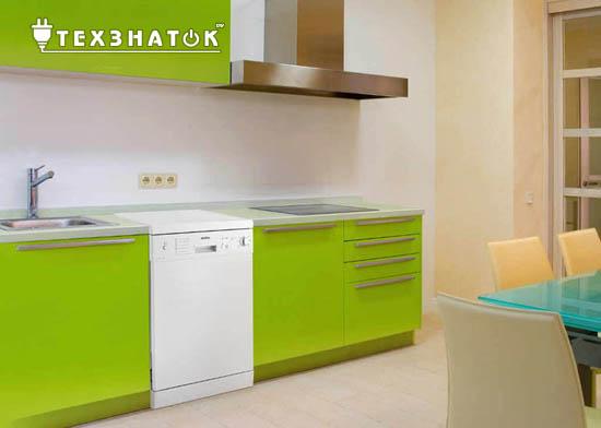 посудомойка в зеленом интерьере